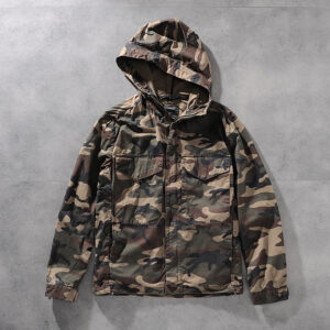 A48 autumn and winter new foreign trade original single-base solid color camouflage hooded young men's windcoat jacket jacket 0104