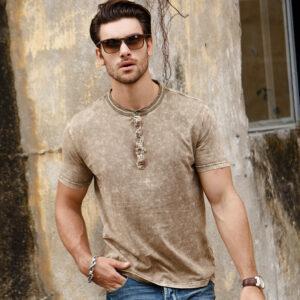 Spring 2019 casual geometric pattern men's short-sleeved T-shirt fashion trendy slim type letter short-sleeve wholesale