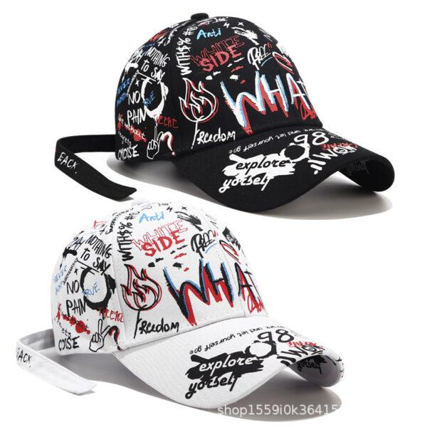 Graffiti baseball cap fashion Korean version of personality bends along the summer tide male and female personality a hundred caps and sun hats