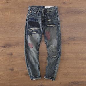 Autumn/Winter New American Vintage Click Yalu Street Patch Men's Jeans Pants A68-229