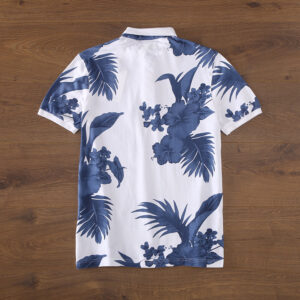 Spring and summer new American retro wash to do old flower shirt men's turn collar short-sleeved T-shirt POLO shirt V259