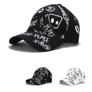 Cross-border outdoor graffiti cap tide male hip-hop students sun hat women trend street shoots a hundred printed baseball caps