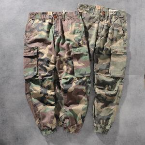 Europe and the United States foreign trade original single cotton washing multi-bag work clothes tie feet men's camouflage casual pants A109-8019