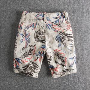 B25 personality leaves printed water wash comfortable linen casual pants foreign trade original single men's shorts