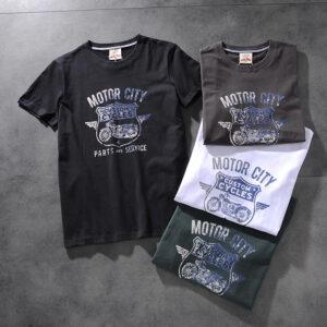 Modern banner American retro wash hair original print men's round collar short-sleeved T-shirt half-sleeve M618