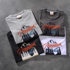Modern banner American retro wash-and-grind print men's round-neck short-sleeved T-shirt half-sleeve M620