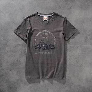 Modern banner American retro locomotive wash-and-polished print men's round-neck short-sleeved T-shirt half-sleeve M621
