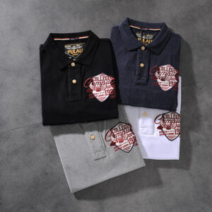 Spring and summer new American minimalist 100 embroidered beaded cotton men's short-sleeve POLO shirt youth half-sleeve PK504