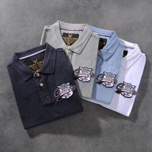 Modern banner American minimalist embroidered men's turn collar short-sleeve POLO shirt half-sleeve M702