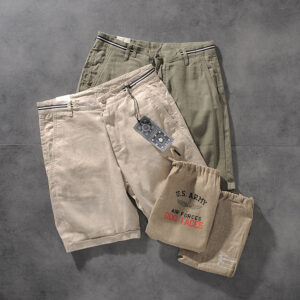 DEESMANCE and CO spring/summer American comfortable wash cotton linen simple men's casual pants five-point pants 277