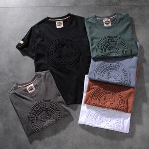 Air-rainbow American retro minimalist three-dimensional framed men's round-neck short-sleeved T-shirt half-sleeve AR804