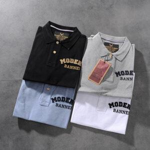 Modern banner American minimalist 100-letter men turn collar short-sleeved POLO shirt M701