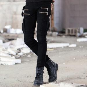 European and American trend men's BIKER pleated elastic small foot casual pants high street multi-pocket zipper trim pants