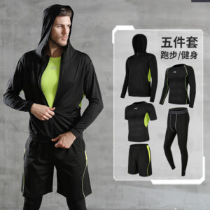Fitness clothes men's tights gym morning running fast dry basketball sports kit training clothing summer five-piece set