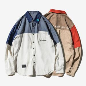 Autumn shirt men's long-sleeved new stitching trend Korean version of casual shirt shirt tide Japanese loose jacket shirt