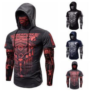 European elastic fitness men fake two-piece Cyberpunk ninja dress hoodie T-shirt face mask riding