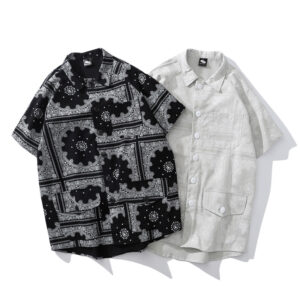 Japanese retro national wind cashew flower shirt men's trend 100 pairs of loose five-sleeve shirt couple casual jacket