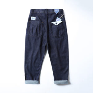Boys Japanese vintage straight jeans men's summer loose wash cone Harun nine-point pants radish pants