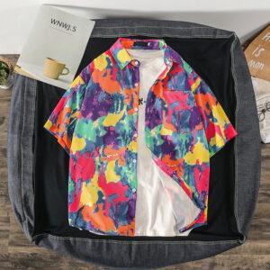 summer new Korean wind net red ins tide card print shirt loose trend couple beach travel shirt