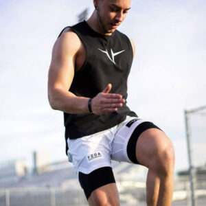 Europe and the United States cross-border summer fitness clothing men's running casual vest double-layered shorts two-piece training sportswear bodysuit suit