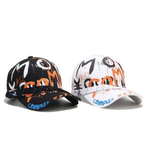 The new letter graffiti baseball hat Korean version of the men's and women's summer long belt bent eaves cap personality sun hat