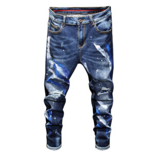 European station autumn and winter new men's trend jeans small foot slim waist elastic casual men's blue denim trousers