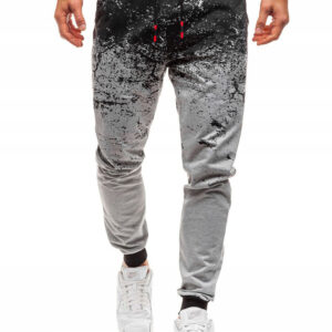men's casual sweatpants European and American style slimming flower gradient fashion street pants