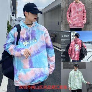 Foreign trade gradient printing hoodie men's and women's loose Korean version of the net red ins outside wearing plus velvet long-sleeved guard clothing