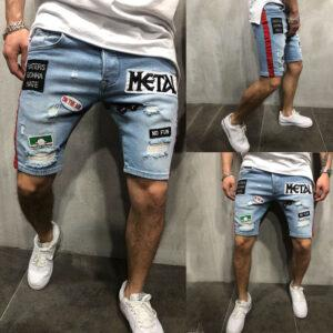 Foreign trade summer explosion men's fashion denim hole embroidered label shorts Europe and the United States loose straight jeans