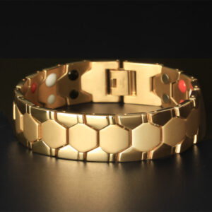 Europe and the United States overbearing titanium steel bracelet male electroplating gold magnet five-sided spherical bracelet wide foreign trade stainless steel jewelry