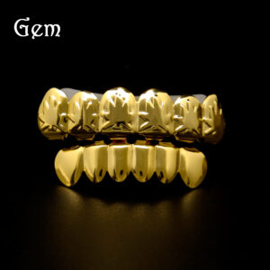Hip-hop maple leaf 24K gold brace Halloween teethgrillsrapper fashion hip-hop accessories