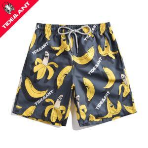 Summer new beach pants tide male couple European and American casual loose banana print five beach pants tide