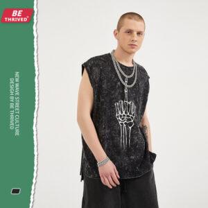 men's wear |ummer high street sub-forced middle finger skeleton shoulder Europe and the United States open fork loose vest tide T-shirt man