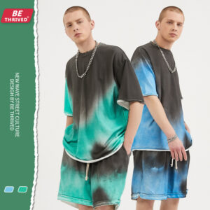 Spring/summer new spray-stained off-the-shoulder loose-sleeved lazy high street T-shirt shorts set (1331)
