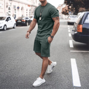 Foreign trade summer cross-border explosion of European short-sleeved shorts two-piece sports casual men's suit