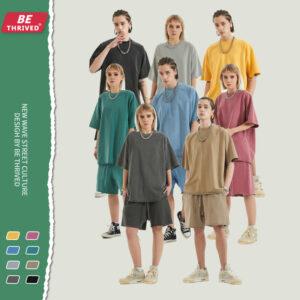 Spring and summer water wash edge small hair ring short-sleeved high street trend street t-shirt shorts set custom (1306)