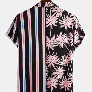 men's coconut print stripes stitch casual holiday twists and turns of the shirt