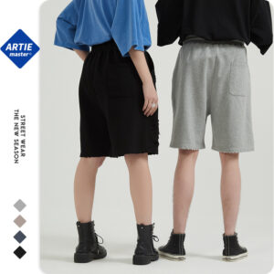 ARTIE men's | hand-cut hole 350g wash shorts men's loose tide card over knee hair ring five-point shorts