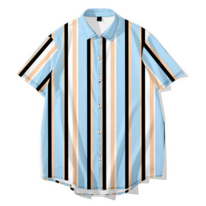 creative striped 3D men's casual loose-fitting short-sleeved men's fashion shirt young students