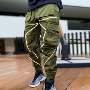 Foreign trade autumn new casual pants men's Korean version of the tide brand multi-bag work pants loose straight outdoor running pants