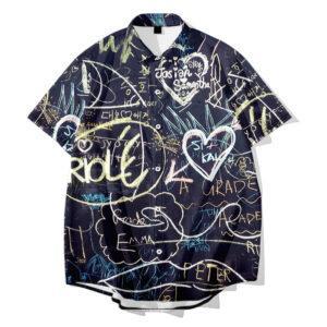 Menswear Math Formula Digital Print Casual Slim Short Sleeve Shirt Supports Customization