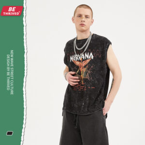 BE menswear | summer remake of the old open fork death goddess printed vest high street retro tide card sleeveless tee