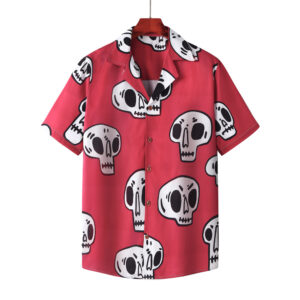 Pick up   Spring/Summer European and American Skeleton Flower Shirt Cross-border printed beach cardigan short sleeves men and women 102