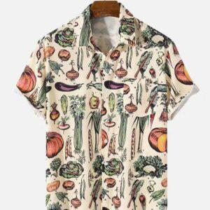 Cross-border e-commerce independent station Amazon express sales of foreign trade men's open chest vegetables and fruit shirt short sleeves