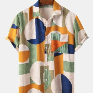 large block short-sleeved open-breasted shirts