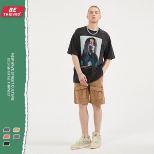 BE Men's | 2021 Summer Billie Eilish Ripped Edge Short Sleeves Vintage High Street T-Shirt